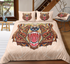 Bear Head Zentangle Stylized Ornate Lace Duvet Bedding Set - Bohemian Shrine