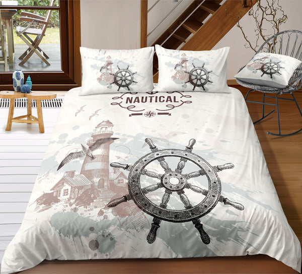 Sketch Style Rudder and Lighthouse Duvet Cover Sets - Bohemian Shrine