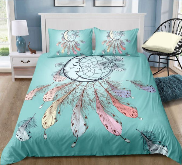 Tiffany Blue Boho Tribal Dreamcatcher Duvet Cover Set - Bohemian Shrine