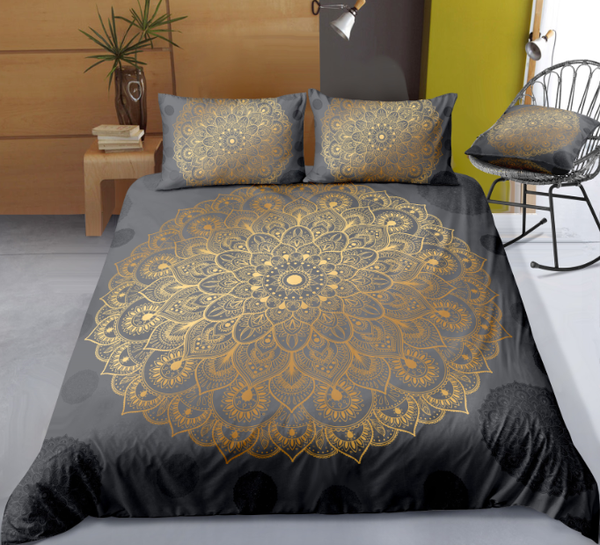 Gray Golden Mandala Flower Duvet Cover Sets - Bohemian Shrine