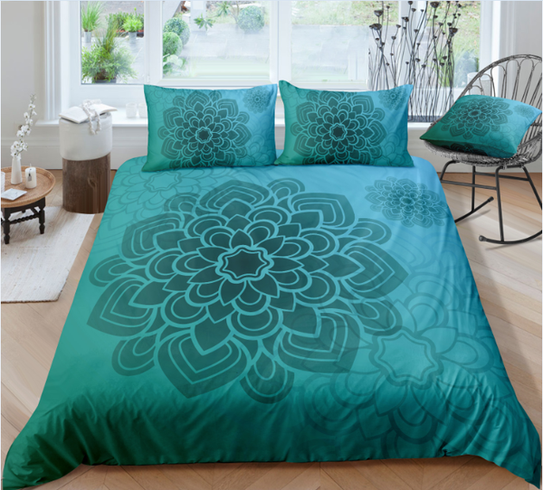 Tiffany Blue Green Mandala Flower Duvet Cover Sets - Bohemian Shrine