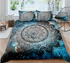 Dark Blue Galaxy Mandala Flower Duvet Cover Sets - Bohemian Shrine
