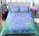 Green & Blue Hand Drawn Watercolor Mandala Flower Duvet Cover Sets