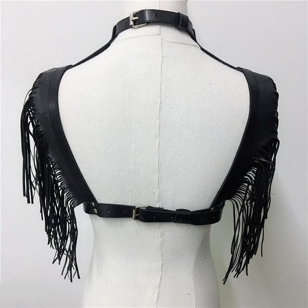 Leather Tassel Choker Top - Bohemian Shrine
