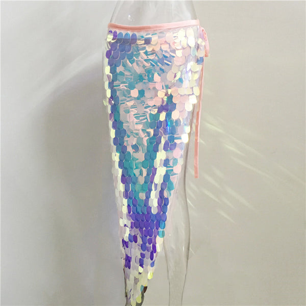 Fish Scales Long Split Skirt Sequins - Bohemian Shrine