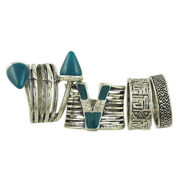 Green Faux Stone Ring Set for Woman 4 pcs - Bohemian Shrine