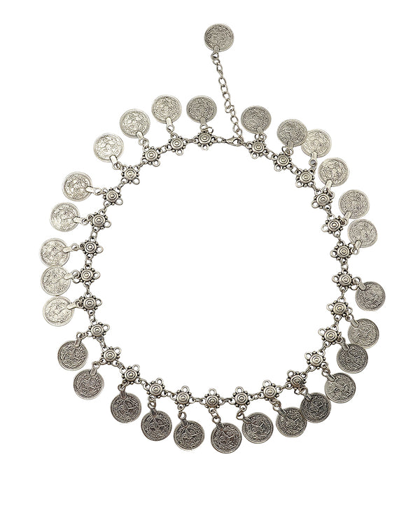 Handmade Bohemian Carved Flower Silver Plated Coin Necklace - Bohemian Shrine
