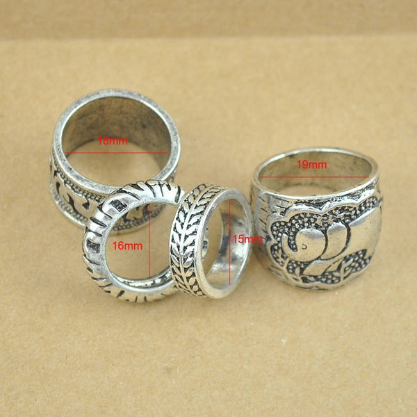 Vintage Silver Plated Ring Set Elephant Totem Leaf Lucky 4pcs/Set - Bohemian Shrine