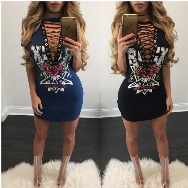 Cross Lace Up T Shirt Dress Punk Rock - Bohemian Shrine