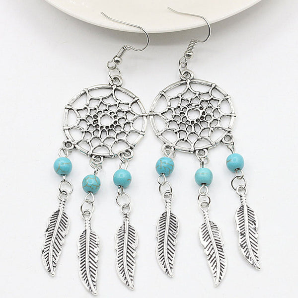 Dream Catcher Drop Earrings - Bohemian Shrine