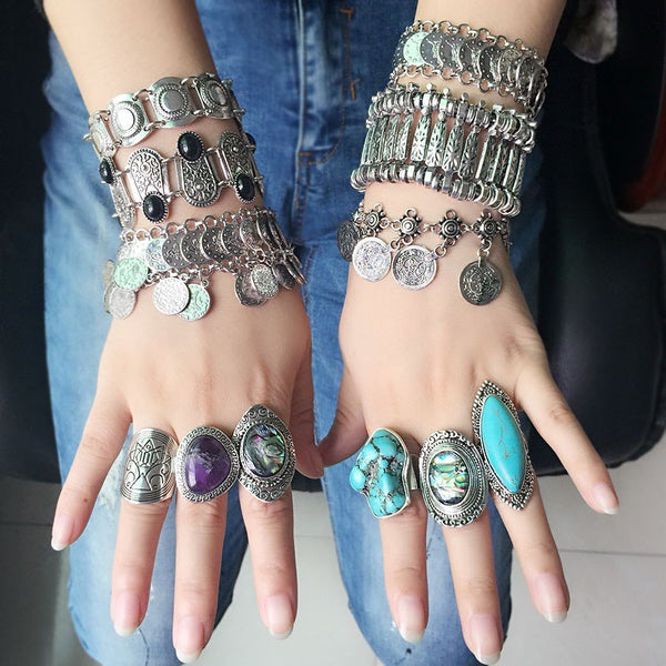 Vintage Silver Plated Boho Shell Rings for Woman - Bohemian Shrine