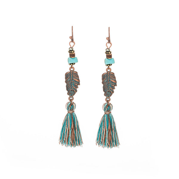Vintage Bohemian Ethnic Tassel Fringe Leaf Stones Earrings - Bohemian Shrine