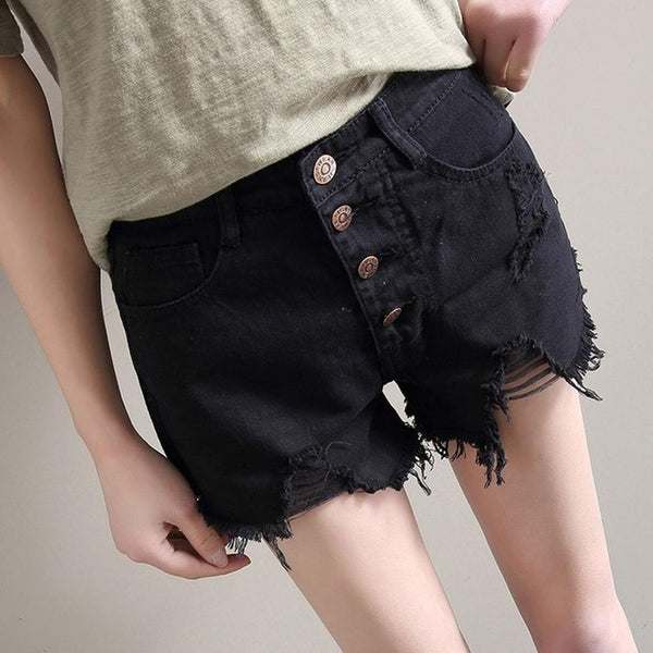 High Waist Denim Shorts Straight Slim - Bohemian Shrine