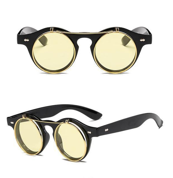Bohemian Vintage Round Steampunk Flip Up Sunglasses - Bohemian Shrine