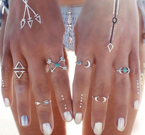 Bohemian Arrows & Moon Rings 6 pieces - Bohemian Shrine