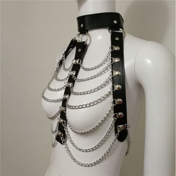 Sexy Backless PU Metal Chain Patchwork - Bohemian Shrine