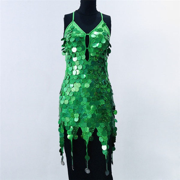 Shiny Sequin Backless Dress - Bohemian Shrine
