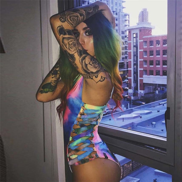 Laser Holographic Bodycon Bodysuit Festival Rave Party - Bohemian Shrine