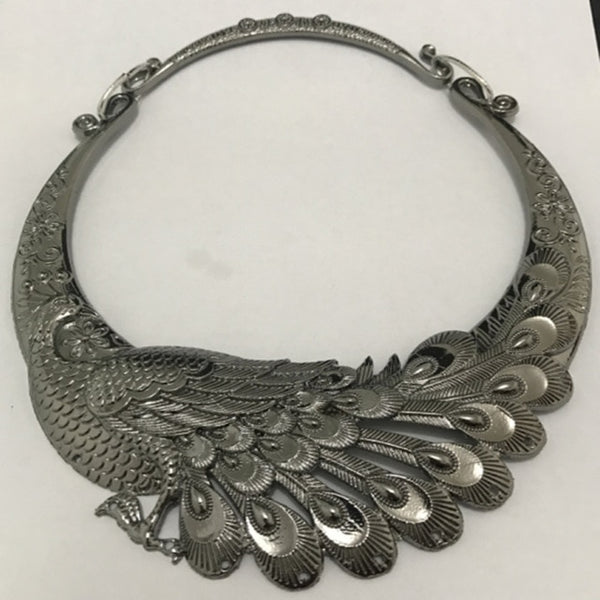 Retro Carved Peacock Collar Choker Statement Necklace - Bohemian Shrine