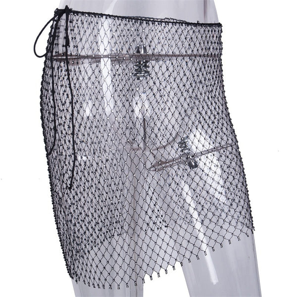 Rhinestones Fishnet Skirt - Bohemian Shrine