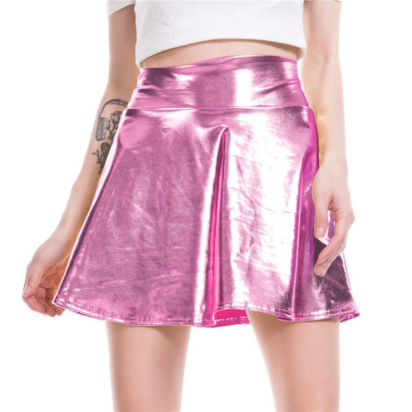 PU Shiny Metallic Skirt - Bohemian Shrine