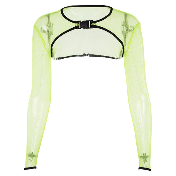 Neon Green Long Sleeve Crop Top Mesh See T - Bohemian Shrine