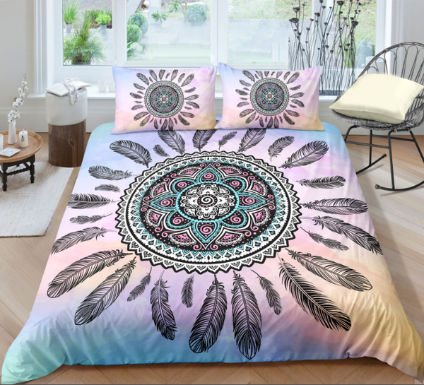 Ethnic American Dream Catcher Black Feather Duvet Cover Sets - Bohemian Shrine