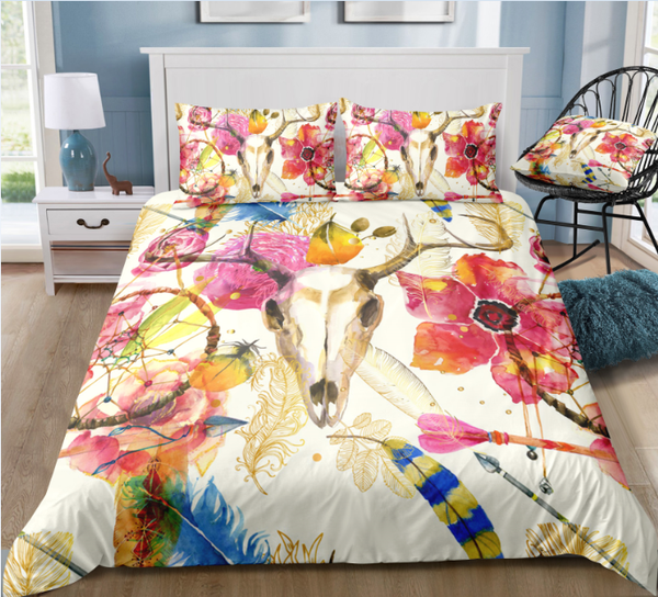Deer Skull Flower Boho Ethnic Dream Catcher Duvet Cover Sets - Bohemian Shrine