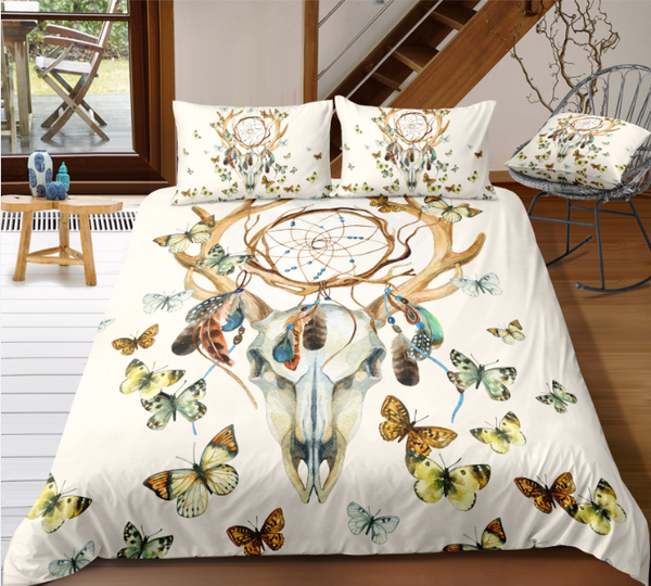Deer Skull Dreamcatcher Feathers Butterfly 3-Pieces Duvet Cover Sets - Bohemian Shrine
