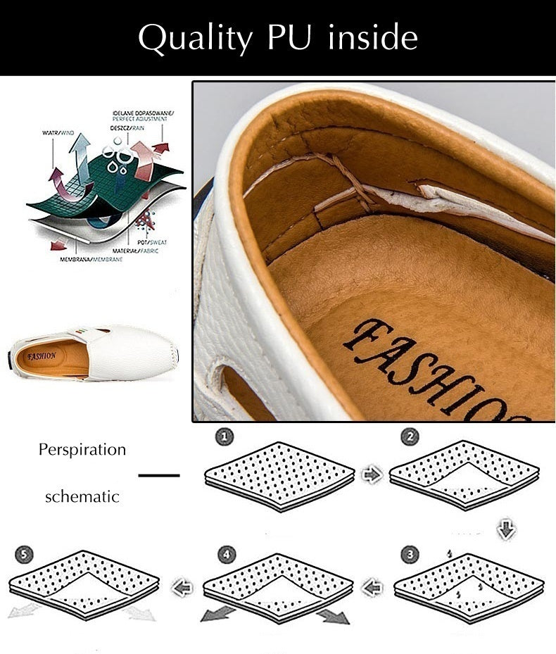Plus Size 46 47 Men Slip on Leather Loafers Casual Lace Up Shoes