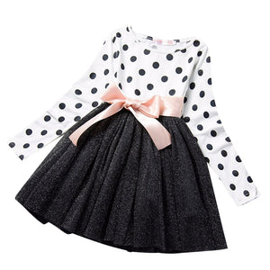 Dot Long Sleeve Dress For Girls