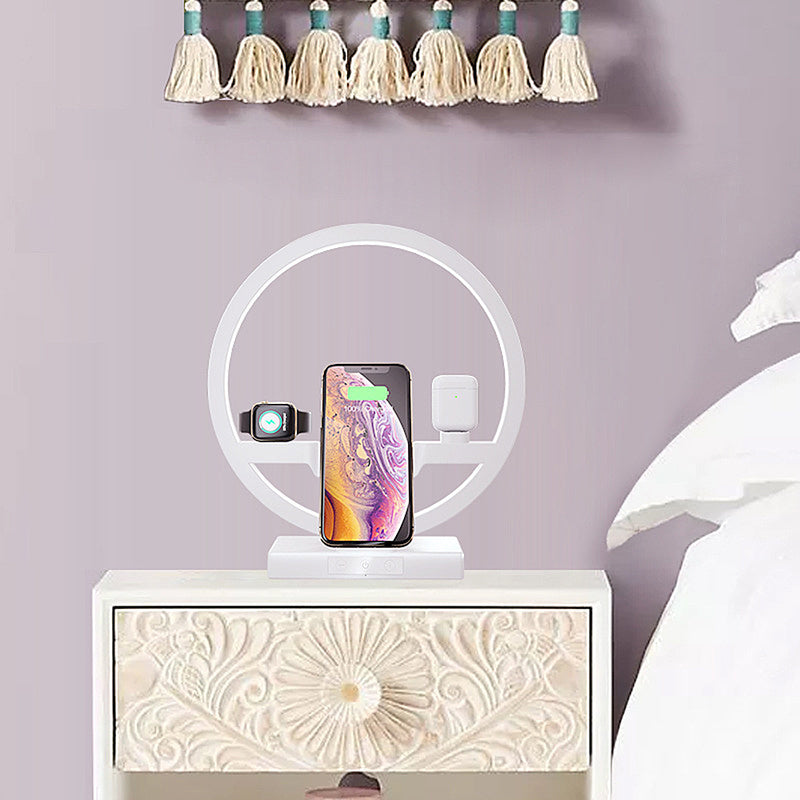 3 IN 1 QI Fast Wireless Charger Dock for iPhone, Apple Watch, Airpods with LED Lamp