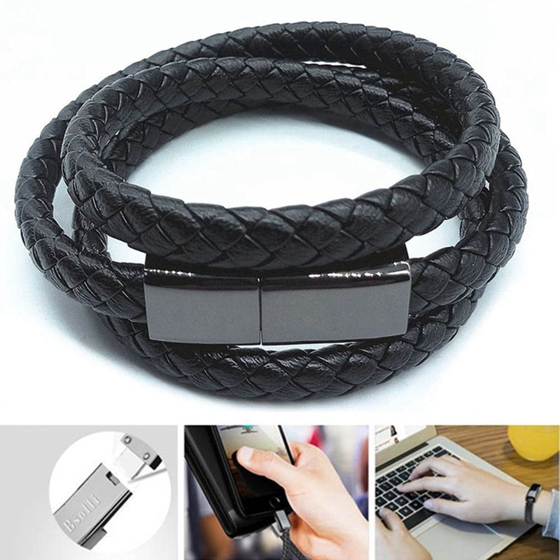 Portable Leather Mini Micro USB Bracelet Charger Data Charging Cable Sync Cord For iPhone6 6s Android Type-C Phone Cable