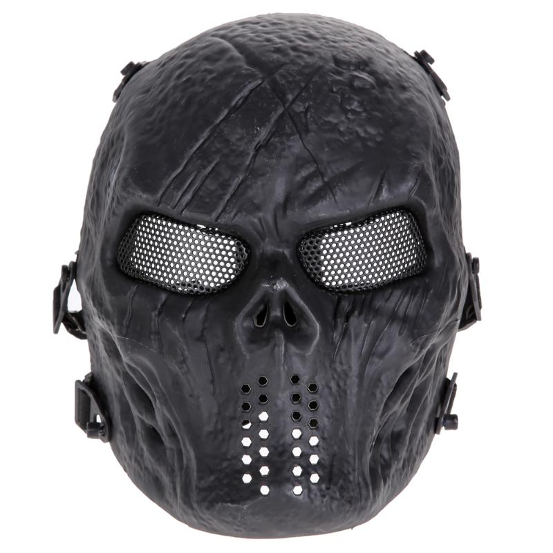 Halloween & Airsoft Paintball Mask: Full Face Mask, Metal Mesh Eye Shield, Costume Supplies
