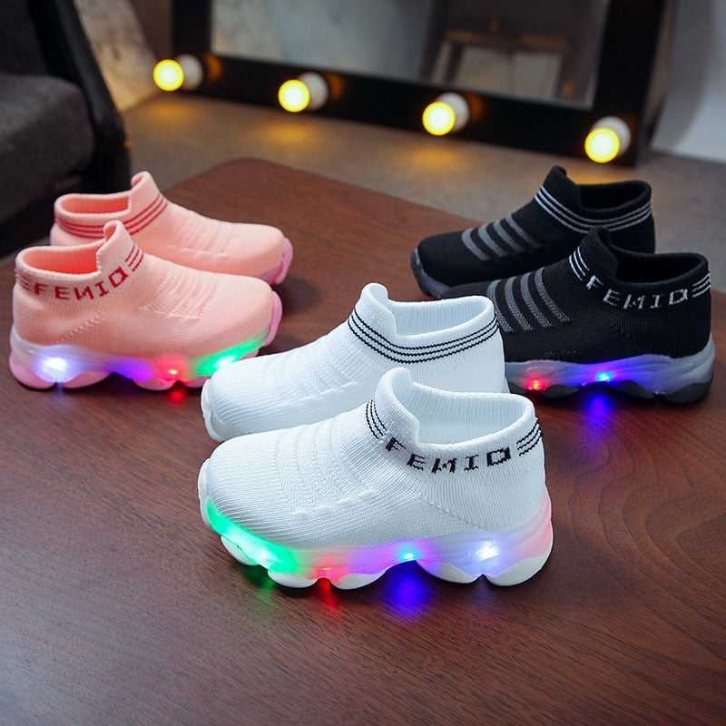 Kids Sneakers Letter Mesh Led Luminous Shoes