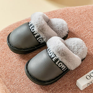Parent-child indoor fur slippers  waterproof (Size 20-44)