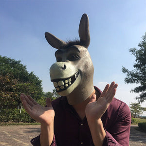 Funny Adult Donkey Head Latex Mask For Halloween
