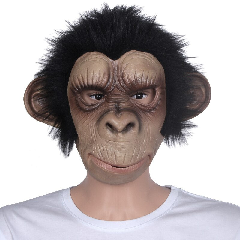 Animal Mask Cosplay Costume Monkey Latex Breathable Mask for Halloween