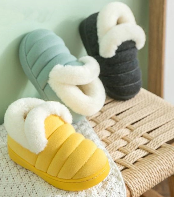 Children Slippers For Winter Indoor Non Slip Flannel Solid Plush