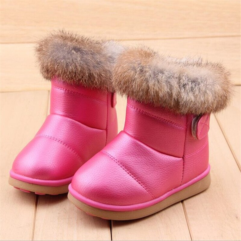 Children Winter Boots Rabbit Fur Warm Size 21-30