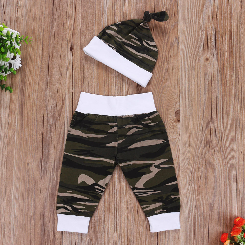 3Pcs Newborn Baby Boy Camo Tops Romper Pants