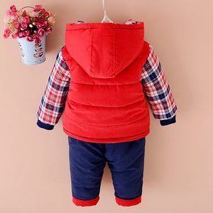 Baby Winter Clothes Sets Boys And Girls Plus Velvet 1-3 Years