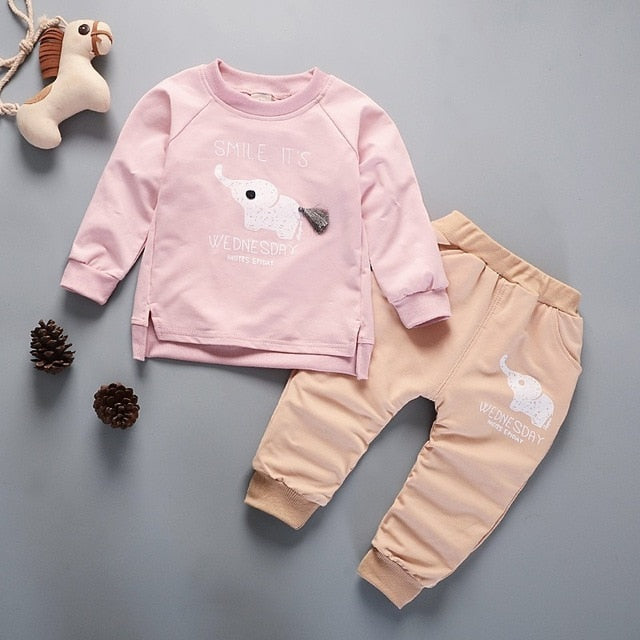 Girls Clothing Cotton Long Sleeve Letter Sets 2 Pcs/Suit