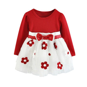 Solid Lovely Dress Baby Girls Long Sleeve