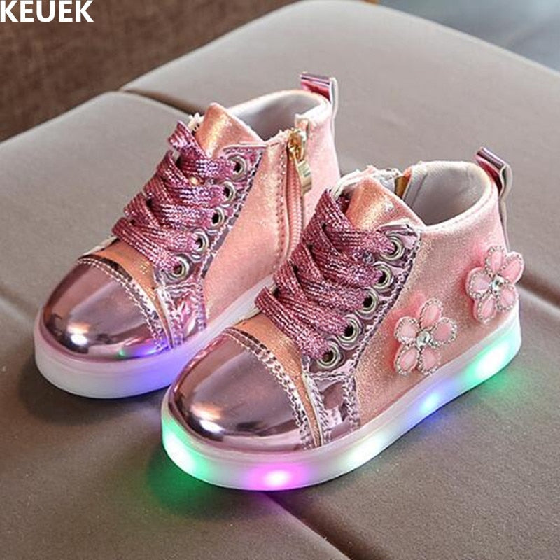 Lace-Up Casual Girls Shoes Lighted Light Sneakers