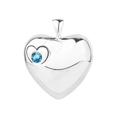 Silver Heart Pendant with a Blue Topaz