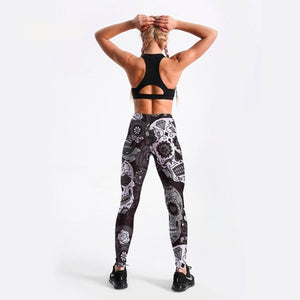 Women's Black&White Skull Printed Leggings - Myhotleggings