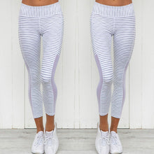 Load image into Gallery viewer, Women's White Striped Leggings - Myhotleggings
