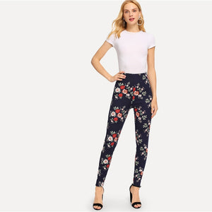 Navy Highstreet Elegant Flower Print Skinny Leggings