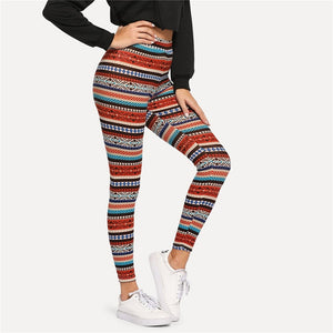 Women's Multicolor High Waist Tribal Print Leggings - Myhotleggings
